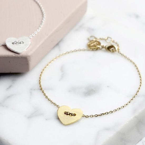 Gold  Button Heart Bracelet