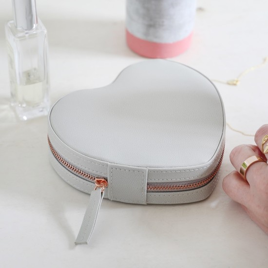 Grey  Heart  PU travel Jewellery Case