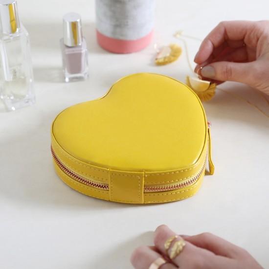 Yellow Heart  PU travel Jewellery Case