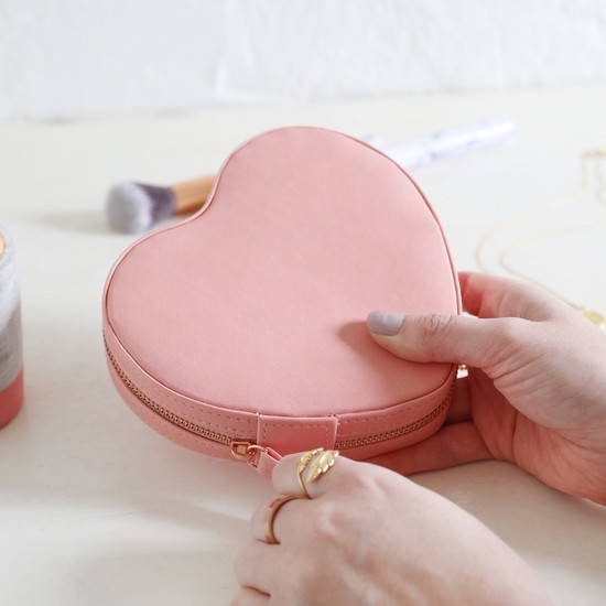 Peach Pink Heart  PU travel Jewellery Case