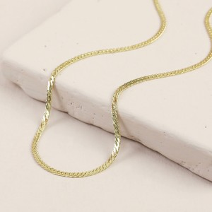 Flat Chain Choker/Short Necklace In Gold