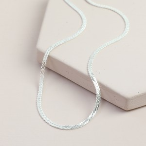 Flat Chain Choker/Short Necklace In Silver