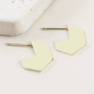 Hexagonal Hoop Stud Earrings in Gold