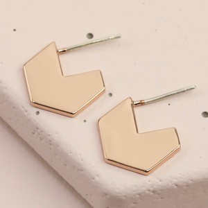 Hexagonal Hoop Stud Earrings in Rose Gold