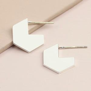 Hexagonal Hoop Stud Earrings in Silver