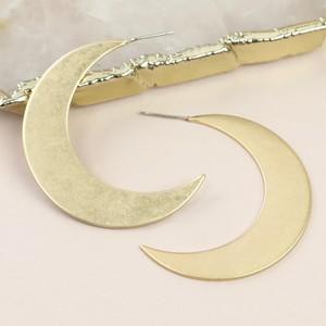 Large Crescent Moon Hoop Stud Earrings
