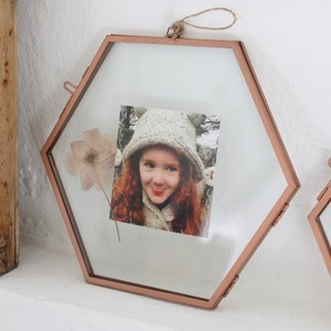 Large Hanging Hexagon Copper Photo Frame