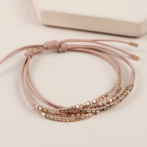 Leather Layered Bead Bracelet in Dusky Pink