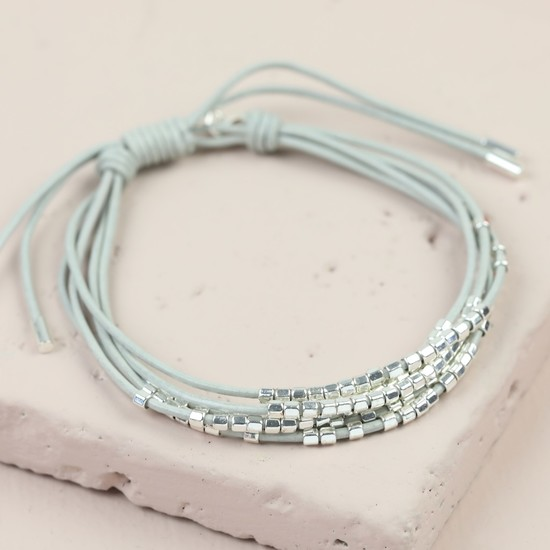 Grey Leather multi strand  seed beads  bracelet in Silver
