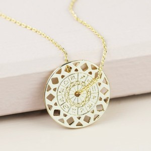 Long Zodiac Spinning Coin Necklace In Gold