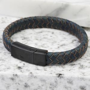 Antique Blue Matt Black Clasp Bracelet Large