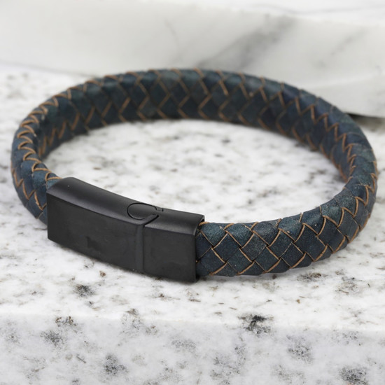 Antique Blue Matt Black Clasp Bracelet Large