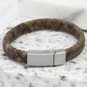 Antique Brown Matt Silver Clasp Bracelet Large