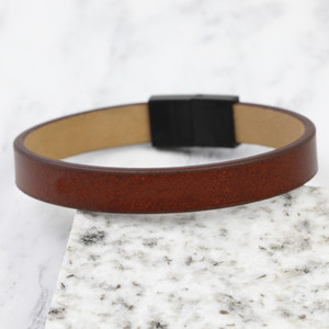 Brown Leather Men's Bracelet Medium