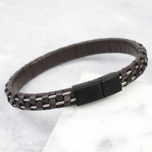 Men's Wire Brown Leather Black clasp - Large