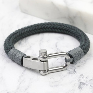 Men's Adjustable Rope Cord Bracelet Grey