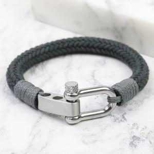 Men's Adjustable Rope Cord Bracelet Grey