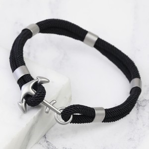 Men's black Silver Anchor bracelet - Large