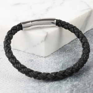 Men's Rustic Braided Leather Bracelet in Black - L