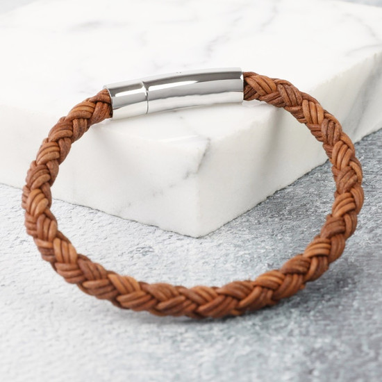 Men's Rustic Braided Leather Bracelet in Brown - L