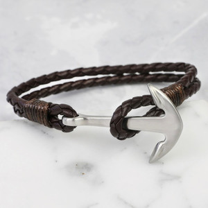 Silver Anchor Brown Leather Bracelet Medium