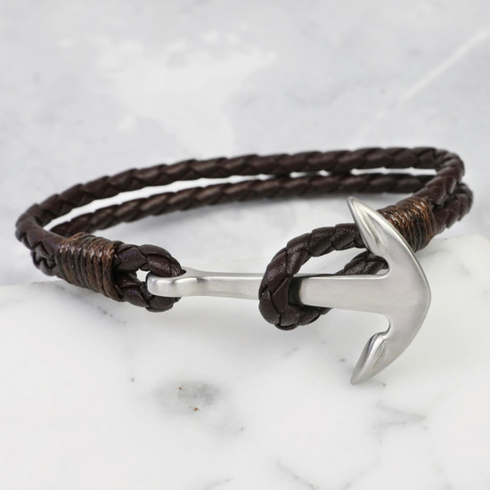 Silver Anchor Brown Leather Bracelet Large