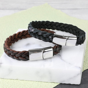 Men's Thick Black Woven Leather Bracelet - Medium