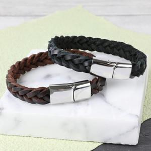 Men's Thick Black Woven Leather Bracelet - Large