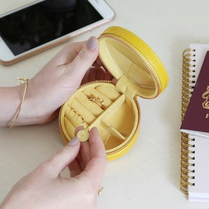 Yellow Round PU travel Jewellery Case
