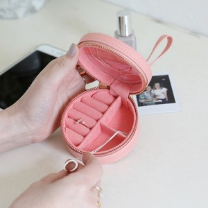 Peach Pink Round PU travel Jewellery Case