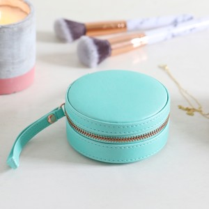 Green  Round PU travel Jewellery Case
