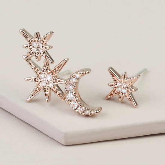 Mismatch Sparkly Star & Moon Earrings in Rose  Gold