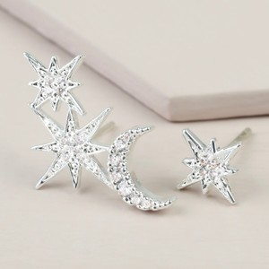Mismatch Sparkly Star & Moon Earrings in Silver