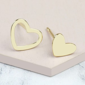 Gold Mismatched Stud Heart Earrings