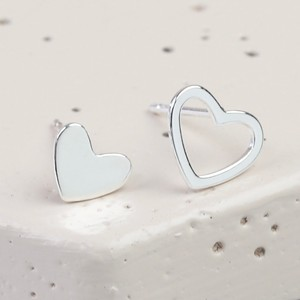 Mismatched Heart Stud Earrings in Silver