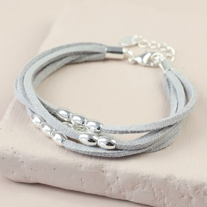 Grey Suede Oval Beads Multi strand bracelet in Silver