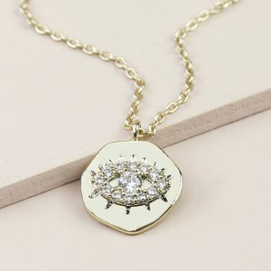 CZ stone Organic Shape Eye Necklace In Gold