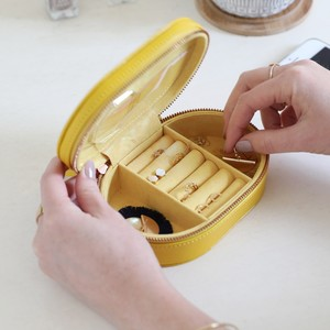 Yellow Oval  PU travel Jewellery Box