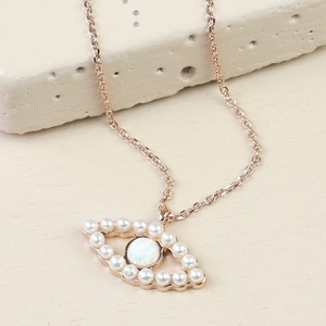 Pearl and Opal Eye Pendant Necklace in Rose Gold