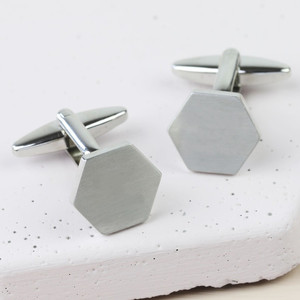 Brushed Hexagon Cufflinks -  Silver