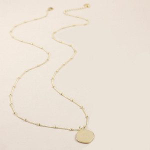 18'' Ball chain Brushed Gold Organic Shape Disc Necklace