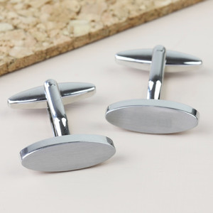 Brushed Oval Cufflinks - Silver