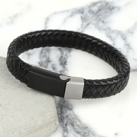 Men's Woven Black Leather Bracelet with Black & Grey Clasp - M