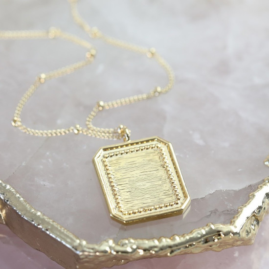 Square Frame Necklace in Gold