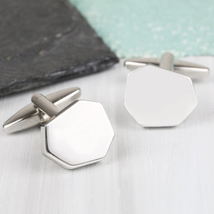 Men's Silver Cut Cufflinks
