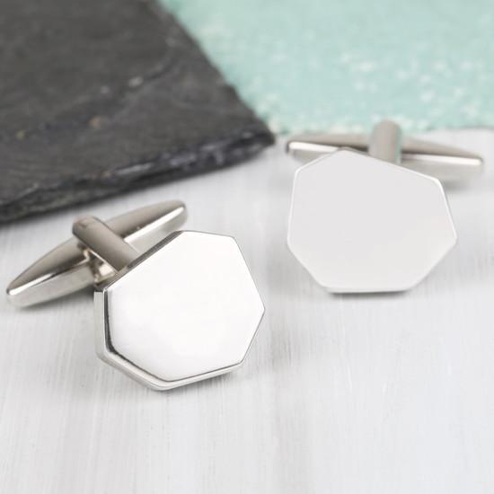 Men's Silver Cut Cufflinks