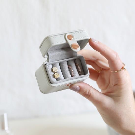 Grey Mini Travel Ring Box