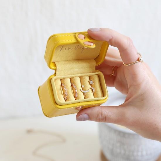 Yellow Mini Ring  PU travel Jewellery Box