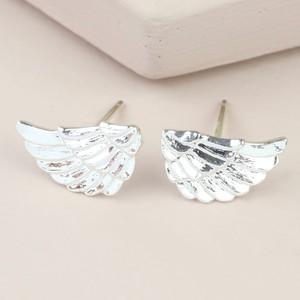 Wing Stud Earrings in Silver