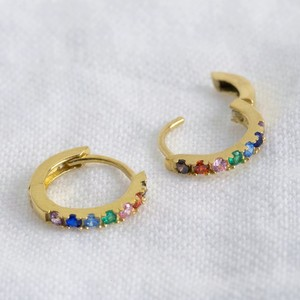 Tiny Rainbow huggie hoops (10 mm at widest measurment) gold plated sterling